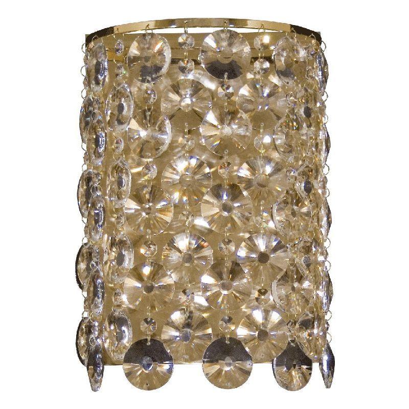 applique murale m tal dor pampilles cristal rondes luminaires. Black Bedroom Furniture Sets. Home Design Ideas