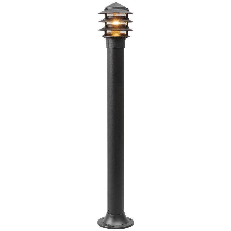 Lampadaire d 39 ext rieur m tal noir style moderne ht 99 cm for Lampadaire exterieur bois