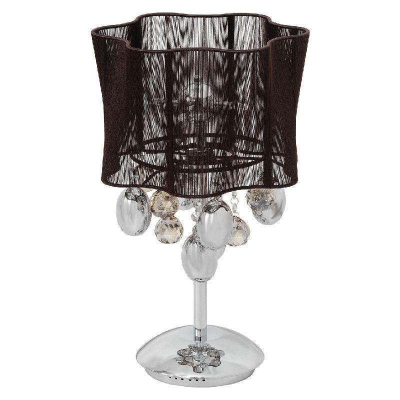 Lampe de chevet m tal chrom abat jour en fil chocolat - Lampe de chevet metal ...