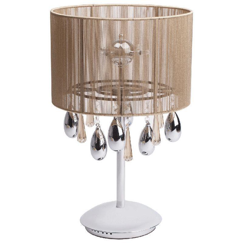 lampe de chevet m tal chrom abat jour en fil dor luminaires. Black Bedroom Furniture Sets. Home Design Ideas