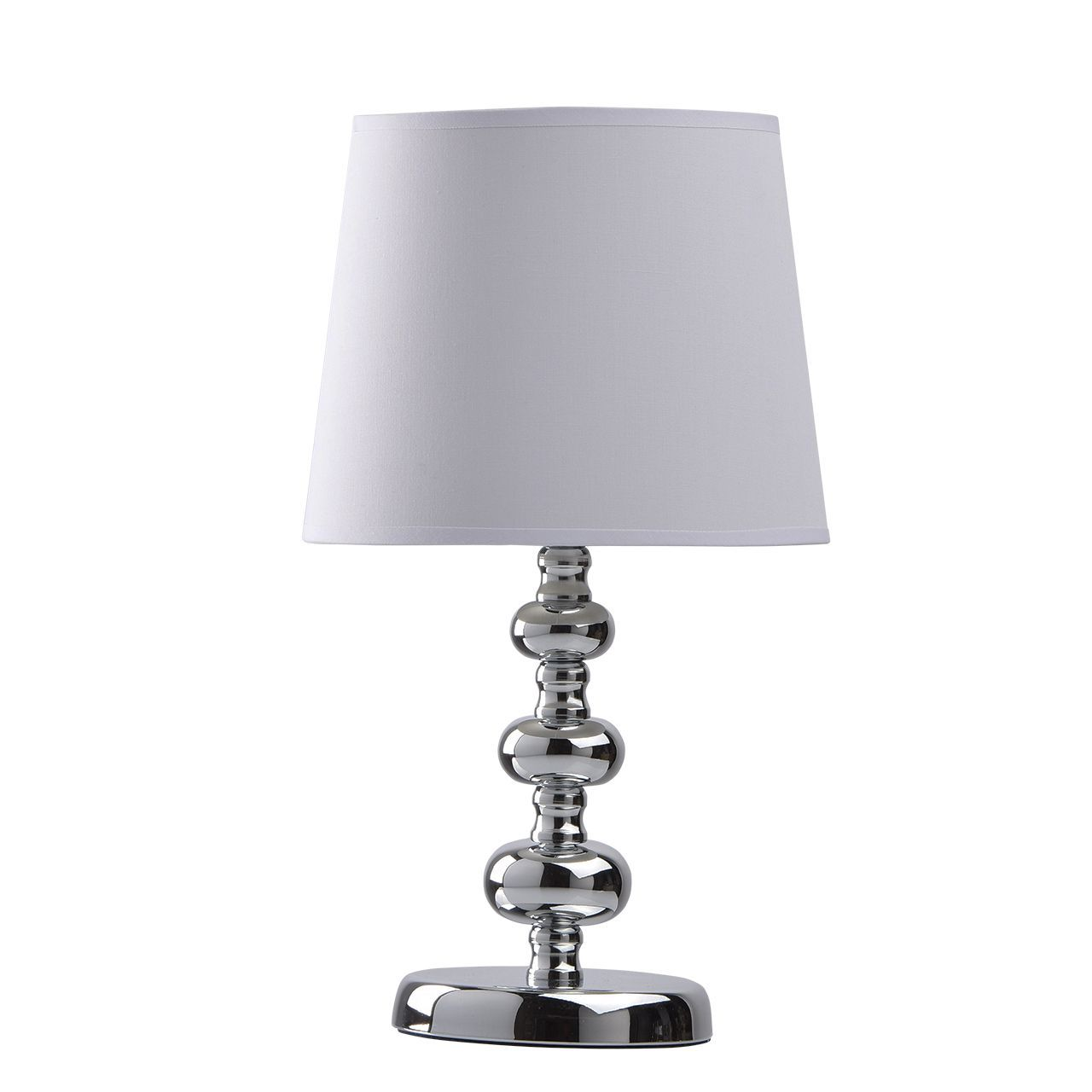 lampe de chevet pied m tal chrom bulles abat jour tissu blanc. Black Bedroom Furniture Sets. Home Design Ideas