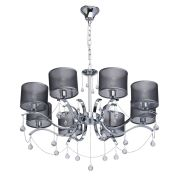 Lustre Elegance Métal Chrome pampilles cristal 8 éclairages - MW-Light
