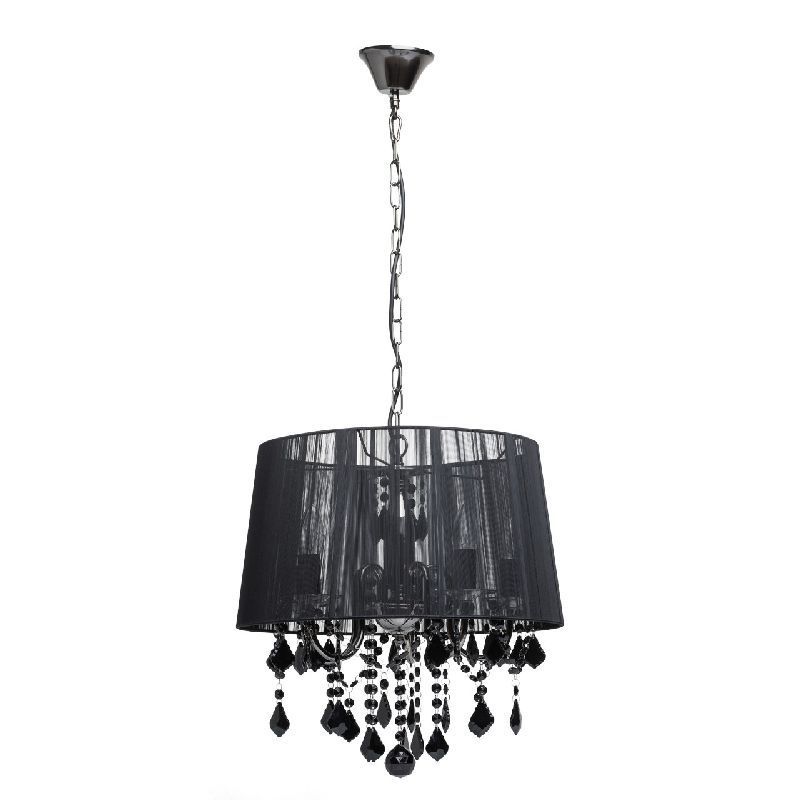 lustre pampille m tal abat jour fil noir 5 clairages luminaires. Black Bedroom Furniture Sets. Home Design Ideas