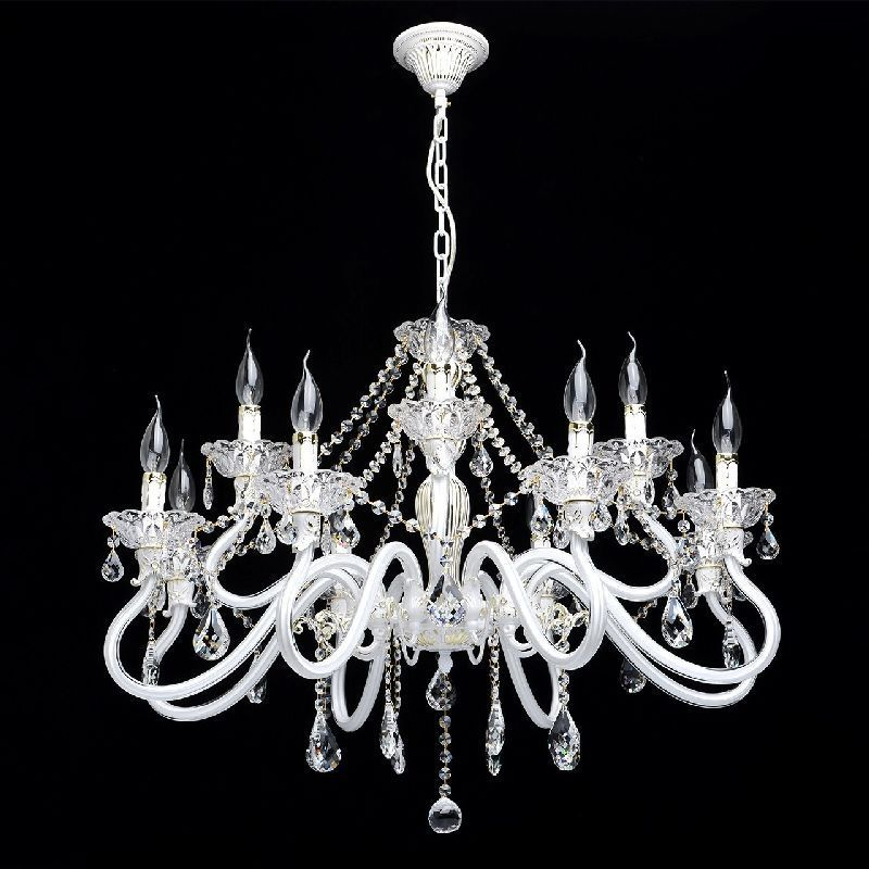 lustre pampilles cristal et verre blanc 12 clairages mw light. Black Bedroom Furniture Sets. Home Design Ideas