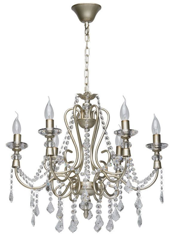 lustre pampilles m tal argent antique 6 clairages mw light. Black Bedroom Furniture Sets. Home Design Ideas
