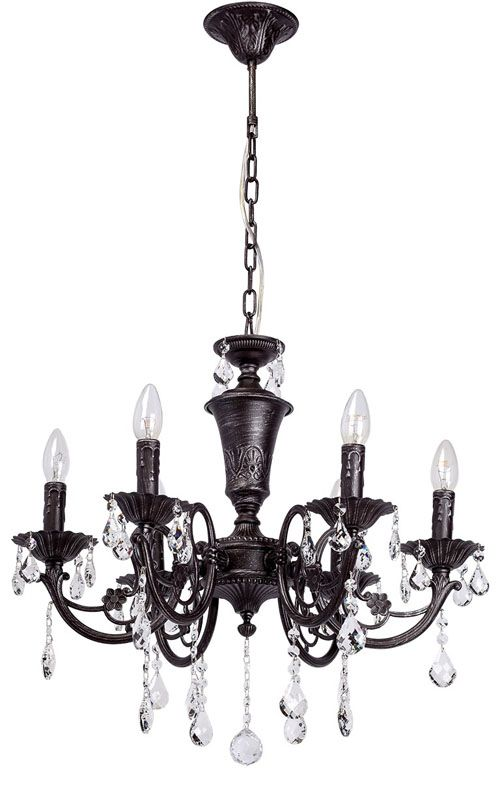 lustre pampilles m tal noir antique 6 clairages luminaires. Black Bedroom Furniture Sets. Home Design Ideas