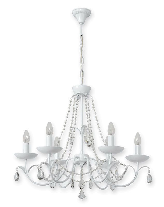 lustre baroque pampille m tal blanc 6 clairages luminaires. Black Bedroom Furniture Sets. Home Design Ideas