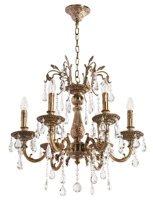lustre baroque pampilles m tal dor antique 6 clairages luminaires. Black Bedroom Furniture Sets. Home Design Ideas