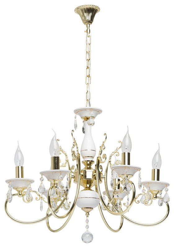 lustre baroque pampilles m tal dor et blanc 6 clairages luminaires. Black Bedroom Furniture Sets. Home Design Ideas