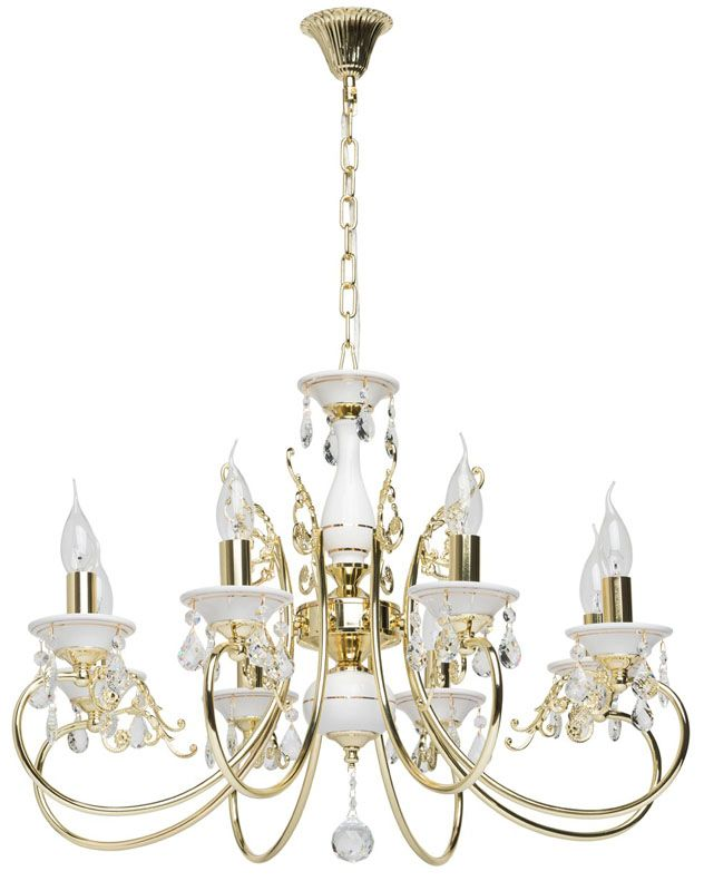 lustre baroque pampilles m tal dor et blanc 8 clairages luminaires. Black Bedroom Furniture Sets. Home Design Ideas