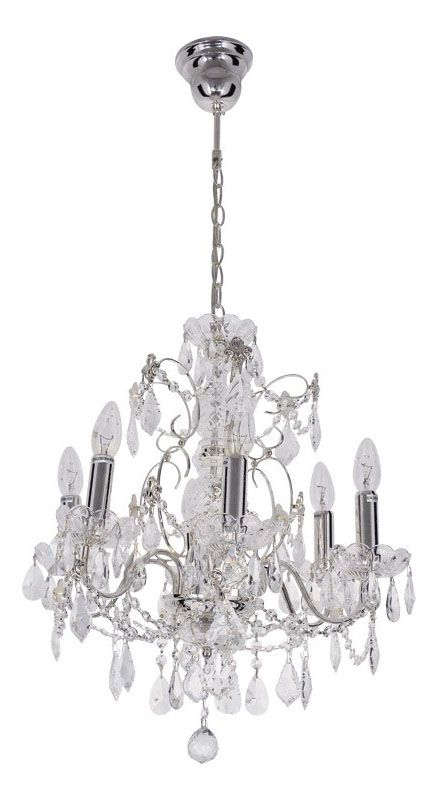 lustre baroque pampilles verre et m tal chrom 6 clairages luminaires. Black Bedroom Furniture Sets. Home Design Ideas