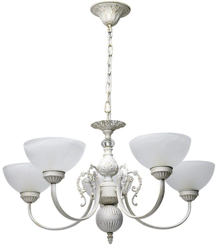 lustre baroque m tal blanc effet us 5 clairages luminaires. Black Bedroom Furniture Sets. Home Design Ideas