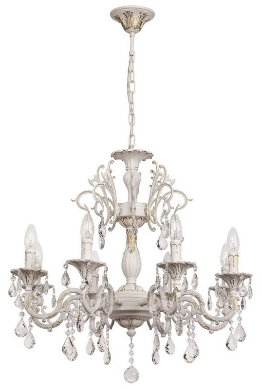 Lustre baroque pampilles m tal blanc 8 clairages mw light for Lustre baroque blanc