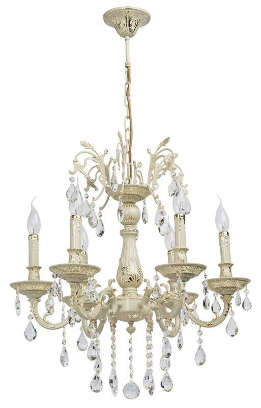 lustre baroque pampilles m tal ivoire 6 clairages luminaires. Black Bedroom Furniture Sets. Home Design Ideas