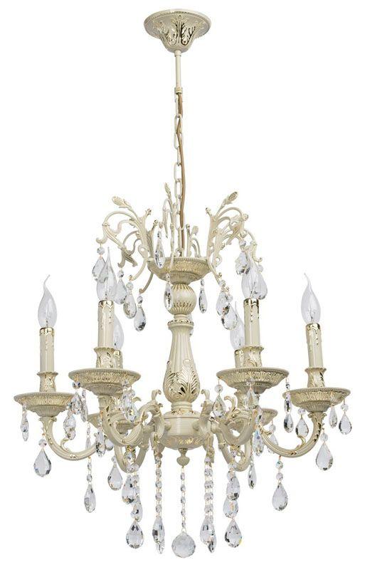 lustre baroque pampilles m tal ivoire 6 clairages luminaires. Black Bedroom Furniture Sets. Home Design Ideas
