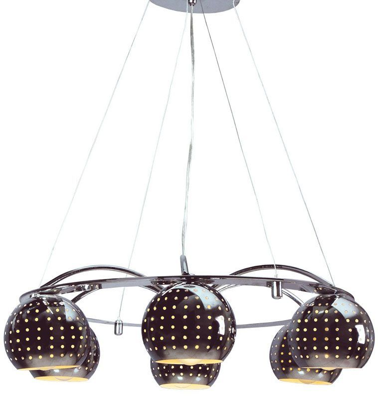 lustre design abat jour boules pois 6 clairages luminaires. Black Bedroom Furniture Sets. Home Design Ideas