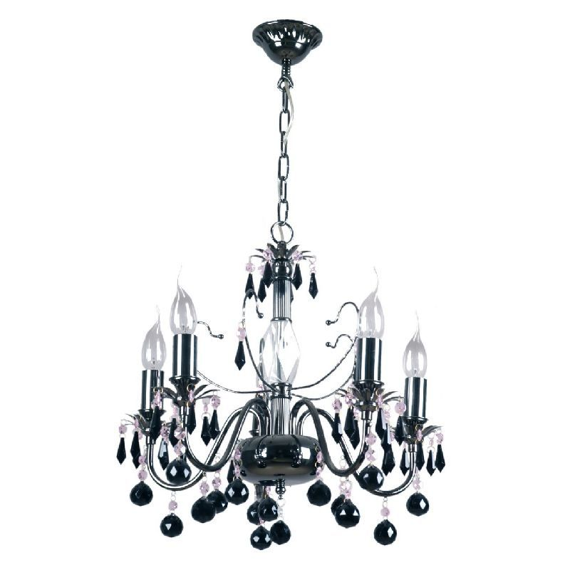 Lustre gothique design à pampilles métal noir 5 éclairages