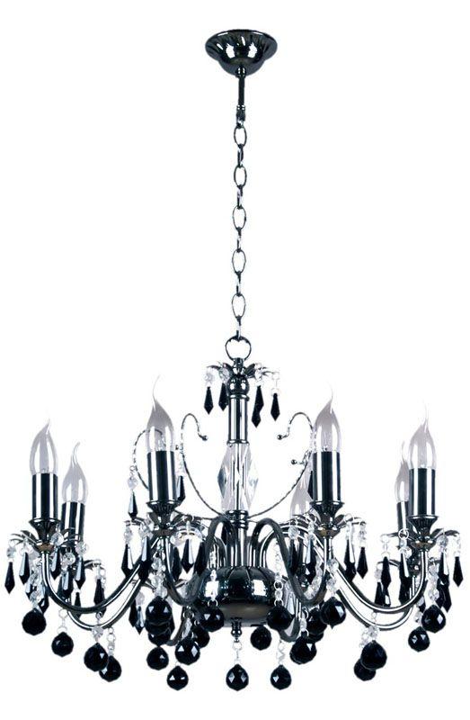Lustre gothique design à pampilles métal noir 8 éclairages