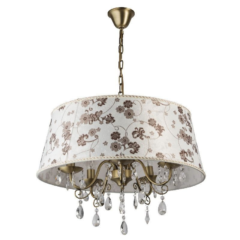 Lustre m tal bronze abat jour fleuri 5 clairages mw light for Lustre abat jour