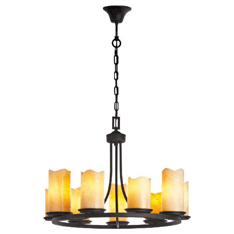 lustre m tal noir effet bougeoir 9 clairages luminaires. Black Bedroom Furniture Sets. Home Design Ideas