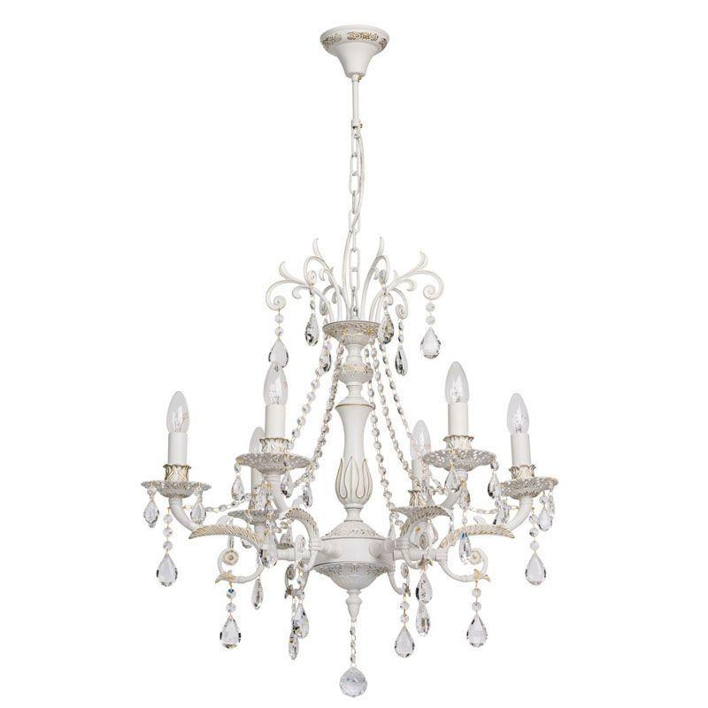 Lustre pampille m tal et cristal blanc 6 clairages mw light for Lustre baroque blanc