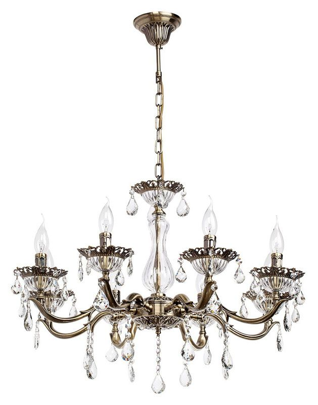 lustre pampilles verre et m tal bronze 8 clairages luminaires. Black Bedroom Furniture Sets. Home Design Ideas