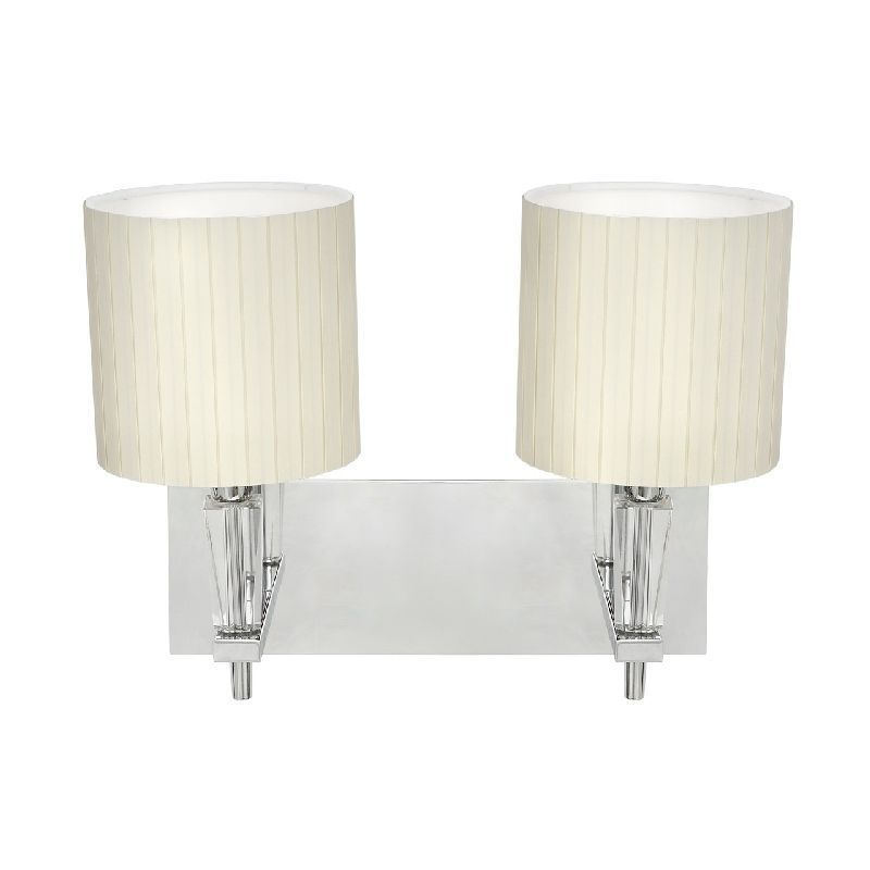 applique m tal chrom abat jour pliss blanc 2 clairages luminaires. Black Bedroom Furniture Sets. Home Design Ideas