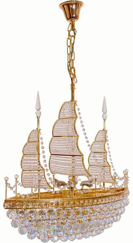 lustre cristal et m tal dor bateau 12 clairages luminaires. Black Bedroom Furniture Sets. Home Design Ideas