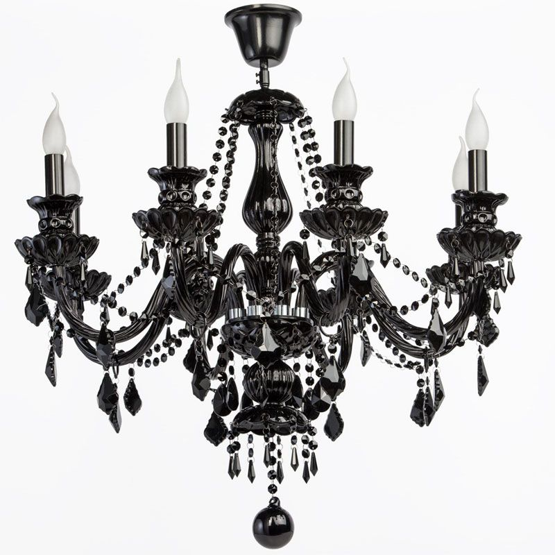 lustre gothique pampilles m tal noir 8 clairages luminaires. Black Bedroom Furniture Sets. Home Design Ideas