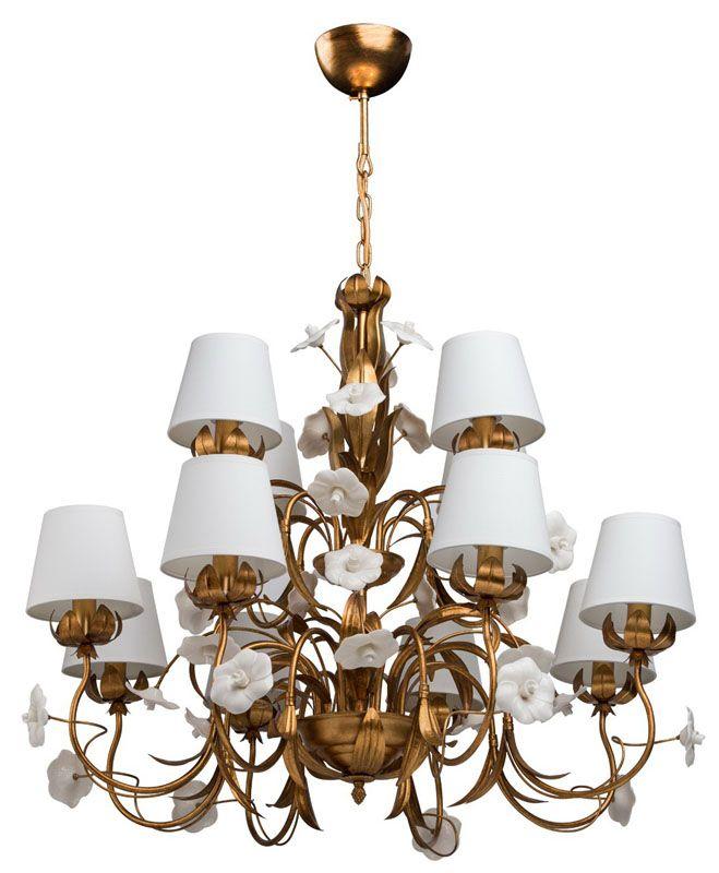 lustre m tal dor antique fleurs en porcelaine 12 clairages luminaires. Black Bedroom Furniture Sets. Home Design Ideas