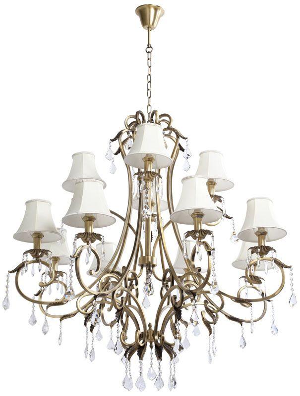 lustre pampilles m tal dor antique abat jour blanc 12. Black Bedroom Furniture Sets. Home Design Ideas