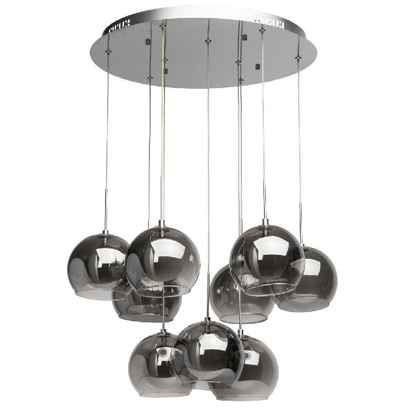 lustre plafonnier design abat jour boule verre 9 clairages luminaires. Black Bedroom Furniture Sets. Home Design Ideas