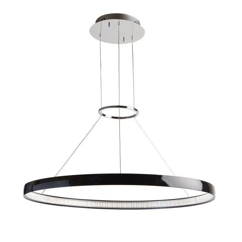lustre led rond design m tal noir luminaires. Black Bedroom Furniture Sets. Home Design Ideas