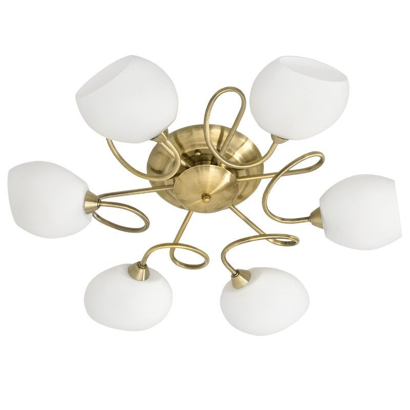 plafonnier boucles m tal dor antique abat jour blanc 6 clairages. Black Bedroom Furniture Sets. Home Design Ideas