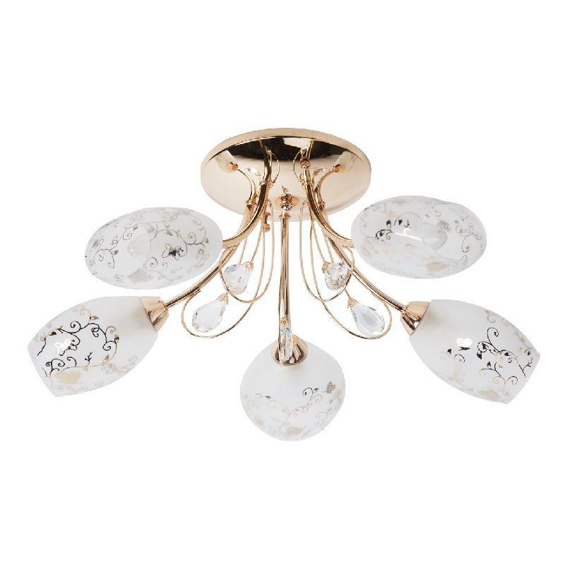 plafonnier m tal dor abat jour fleurs 5 clairages luminaires. Black Bedroom Furniture Sets. Home Design Ideas