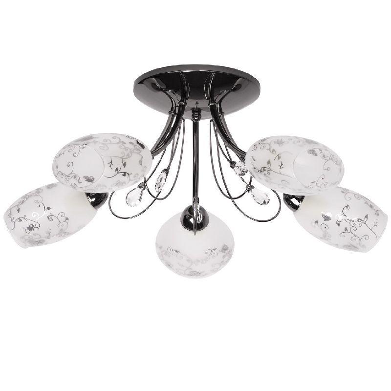 plafonnier m tal noir abat jour fleurs 5 clairages luminaires. Black Bedroom Furniture Sets. Home Design Ideas