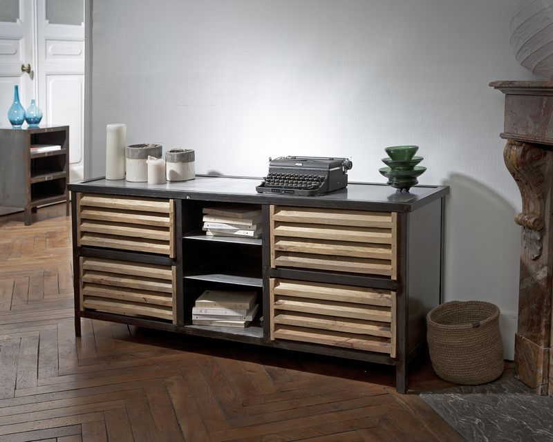 buffet 4 tiroirs m tal effet us et bois williamsburg mobilier. Black Bedroom Furniture Sets. Home Design Ideas
