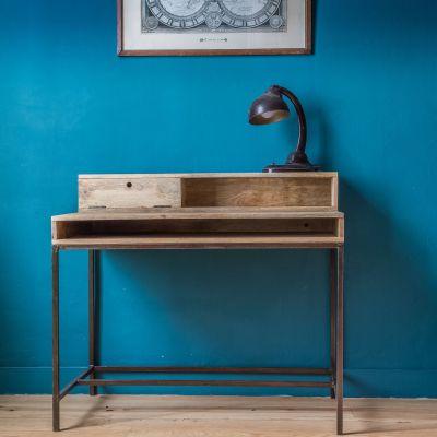 bureau m tal noir et bois de manguier double z ro mobilier. Black Bedroom Furniture Sets. Home Design Ideas