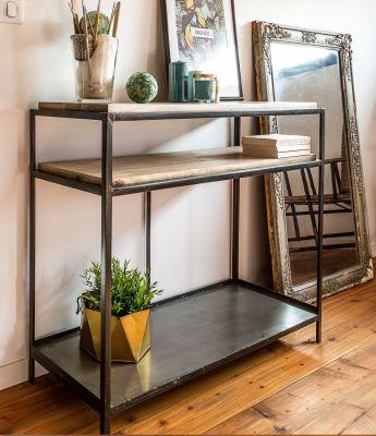 console avec tag res industriel m tal et bois de manguier ice cube mobilier. Black Bedroom Furniture Sets. Home Design Ideas