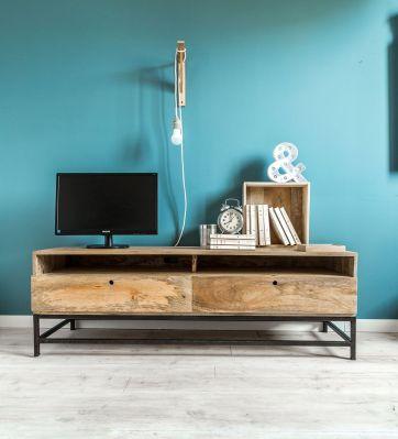 meuble tv industriel mtal et bois de manguier double zro