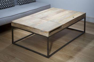 Table Basse Métal Noir Et Bois De Manguier Double Zéro Mobilier