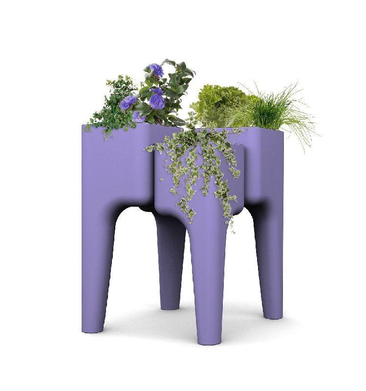 jardini re d co polypropyl ne kiga m 4 bacs lavande. Black Bedroom Furniture Sets. Home Design Ideas