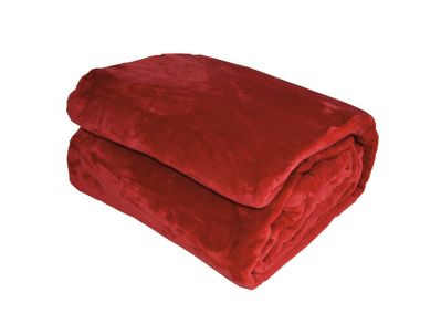 Couverture Velvet microvelours polyester uni rouge 180x220 - Toison d'Or