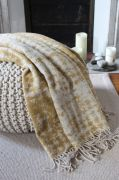 Plaid Bellagio laine mélangée jacquard naturel/ocre jaune 140x175 - Toison d'Or