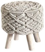 Housse de tabouret Rainef coton ivoire 40x40xH40 - The Rug Republic