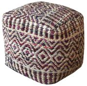 Pouf Elwin Cuir/Chanvre 40x40x40 - The Rug Republic