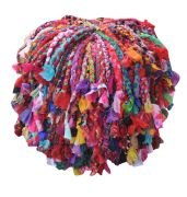 Pouf Gypsy multicolore effet franges coton recyclé - The Rug Republic