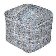 Pouf Harris gris/bleu coton recyclé 40x40x40 - The Rug Republic