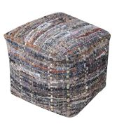 Pouf Harris kaki coton recyclé 40x40x40 - The Rug Republic