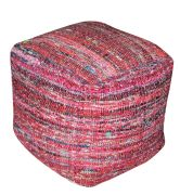 Pouf Harris rouge coton recyclé 40x40x40 - The Rug Republic